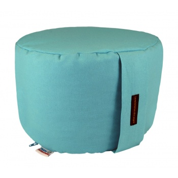 coussin yoga rond 22 cm bleu turquoise